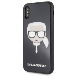 Karl Lagerfeld Karl's Head Double Layers Glitter Case - Etui iPhone Xs / X (Black)