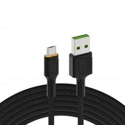 Kabel Przewód Green Cell GC Ray USB - Micro USB 200cm z pomarańczowym podświetleniem LED, szybkie ładowanie Ultra Charge, QC 3.0