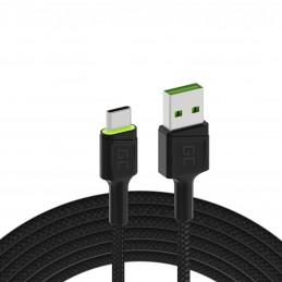 Kabel Przewód Green Cell Ray USB - USB-C 120cm z zielonym podświetleniem LED i obsługą szybkiego ładowania Ultra Charge, QC 3.0