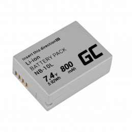 Bateria Green Cell NB-10L ® do Canon PowerShot G15, G16, G1X, G3X, SX40 HS, SX40HS, SX50 HS, SX60 HS 7.4V 800mAh