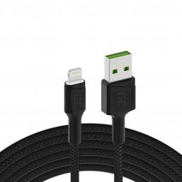 Kabel Przewód Green Cell GC Ray USB - Lightning 120cm z białym podświetleniem LED, szybkie ładowanie Apple 2.4A