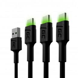 Zestaw 3x Kabel Green Cell GC Ray USB-C 200cm z zielonym podświetleniem LED, szybkie ładowanie Ultra Charge, QC 3.0
