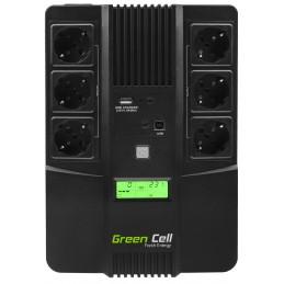 Zasilacz awaryjny UPS Green Cell AiO z wyświetlaczem LCD 800VA