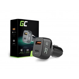 Ładowarka samochodowa Green Cell USB-C Power Delivery + USB Quick Charge 3.0